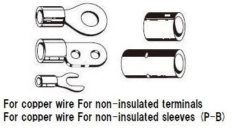 Crimping tool  AK15A  For non-insulated terminals for copper wire. For non-insulated sleeves for copper wire.